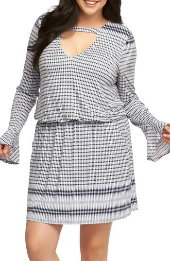 Plus Size Tart Arianna Keyhole Blouson Dress, Blue