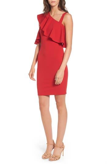 Soprano Ruffle One-Shoulder Body-Con Dress, Red