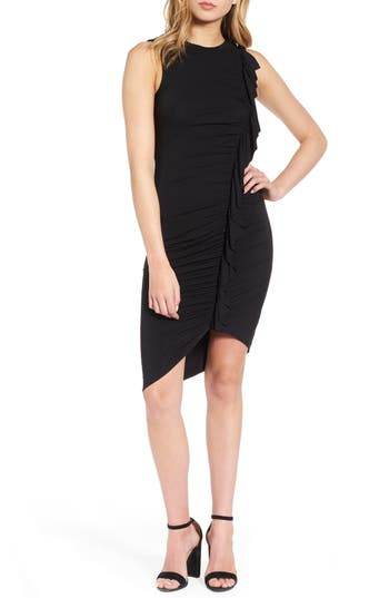 Women's Soprano Asymmetrical Ruffle Body-Con Dress, Size X-Small - Black