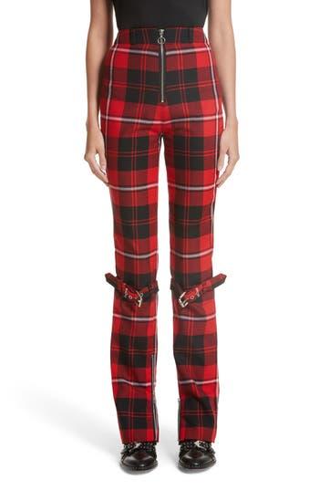 Women's Dilara Findikoglu Manson Tartan Plaid Wool Pants, Size Small - Red