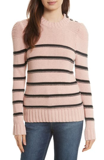 La Vie Rebecca Taylor Stripe Cotton & Merino Wool Sweater, Pink