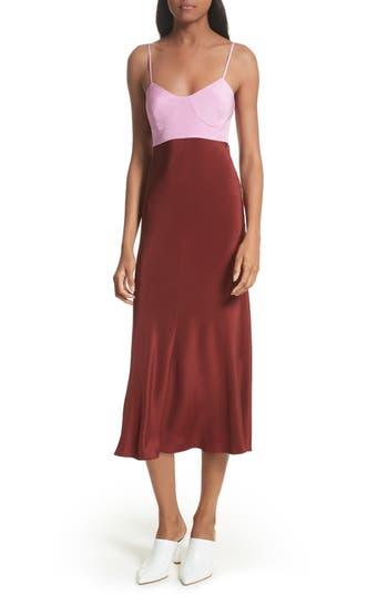 Tibi Silk Lingerie Dress, Red