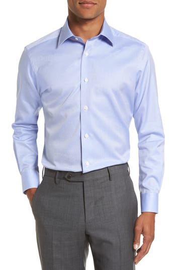David Donahue Trim Fit Microcheck Dress Shirt