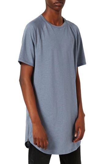 Topman Longline T-Shirt With Side Zips, Blue