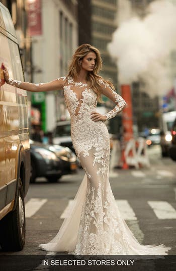 Berta Illusion Long Sleeve Mermaid Gown
