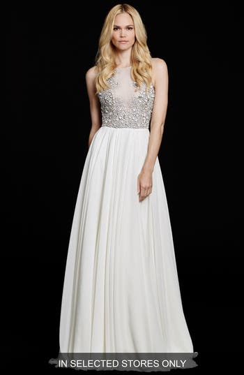 Hayley Paige Ellie Embellished Chiffon A-Line Gown