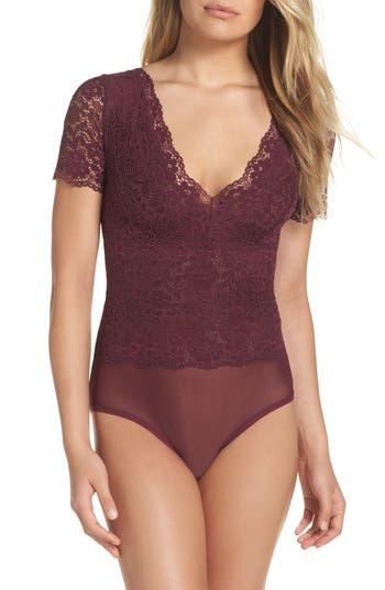Women's Hanky Panky Sophia Lace Bodysuit, Size Large - Purple