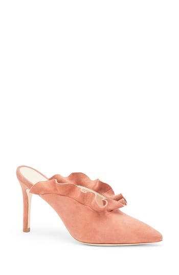 Loeffler Randall Langley Ruffle Pointy Toe Mule, Pink