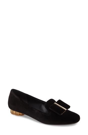 Salvatore Ferragamo Flower Heel Smoking Loafer, Black