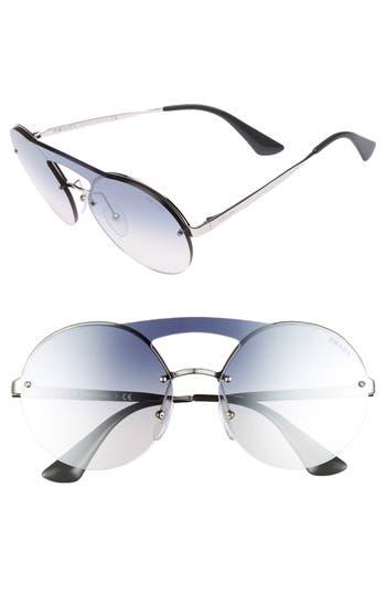 Women's Prada 60Mm Rimless Shield Sunglasses - Silver/ Blue