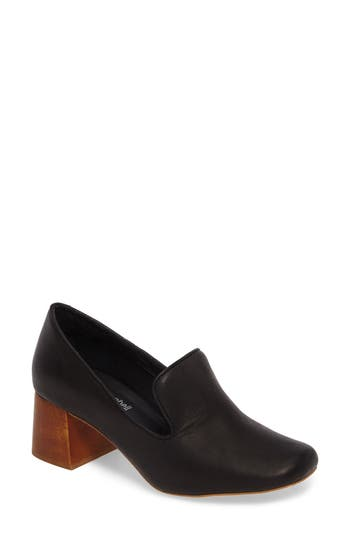 Jeffrey Campbell Lister Flared Heel Loafer Pump- Black
