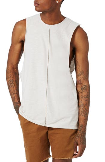 Topman Seamed Slub Cotton Tank, Beige