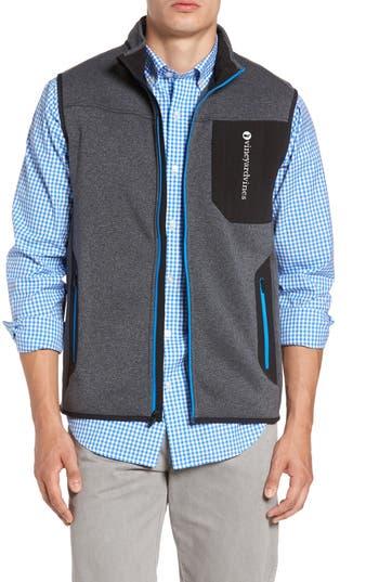 Men's Vineyard Vines Tech Sweater Fleece Vest, Size Medium - Grey