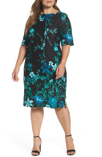 Plus Size Gabby Skye Floral Scuba Knit Sheath Dress, Black