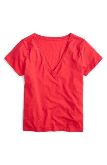 Women's J.crew Supima Cotton V-Neck Tee