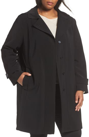 Plus Size Women's Gallery A-Line Raincoat With Detachable Hood & Liner, Size 1X - Black