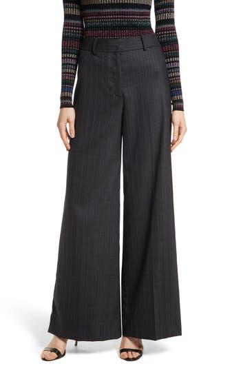 Women's Milly Sia Pinstripe Italian Stretch Wool Trousers, Size 0 - Grey