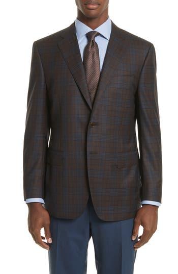 Big & Tall Canali Classic Fit Plaid Wool Sport Coat, 0 US / 6R - Blue