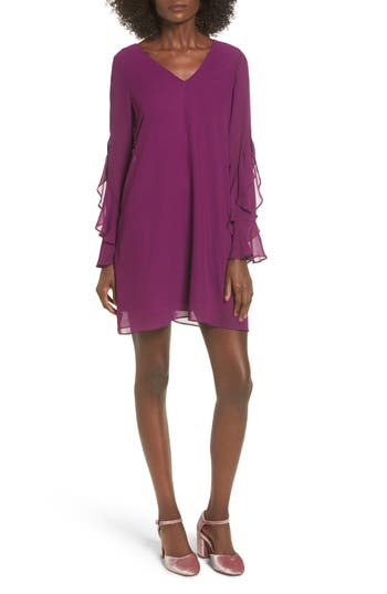 Women's Soprano Ruffle Sleeve Shift Dress, Size X-Small - Burgundy
