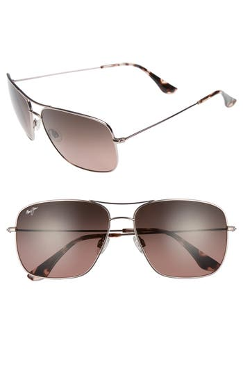 Maui Jim Cook Pines 6m Polarized Titanium Aviator Sunglasses - Rose Gold/ Maui Rose