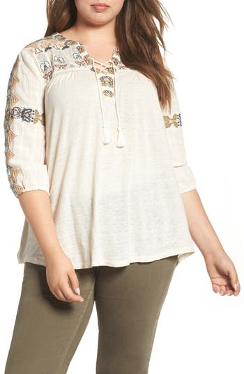Plus Size Lucky Brand Embroidered Lace-Up Top, Ivory