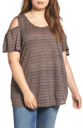 Plus Size Lucky Brand Stripe Cold Shoulder Top, Black