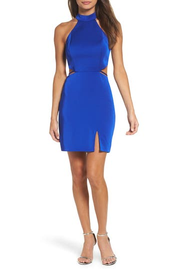 La Femme Cutout Strappy Back Body Con Dress, Blue
