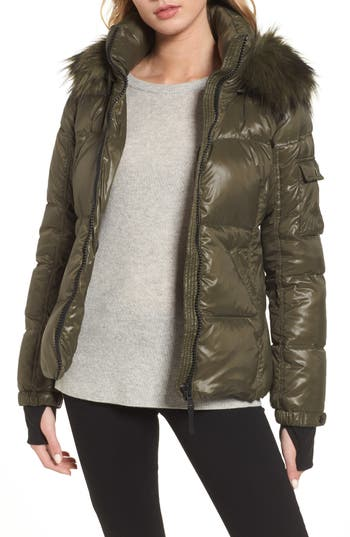 S13/nyc Kylie Faux Fur Trim Gloss Puffer Jacket, Green