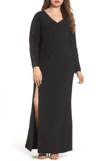 Plus Size Xscape Embellished Jersey A-Line Gown, Black