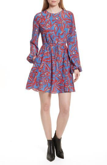 Diane Von Furstenberg Print Silk Drawstring Minidress, Blue