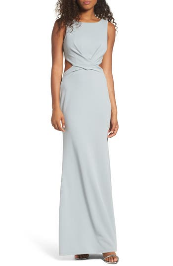 Lulus Cutout Mermaid Gown, Grey