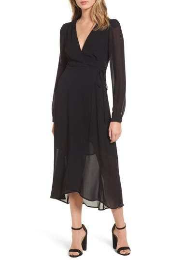 Astr The Label Nikki Wrap Dress, Black