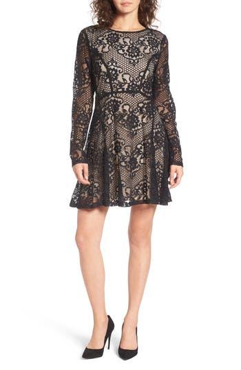 Speechless Lace Skater Dress, Black