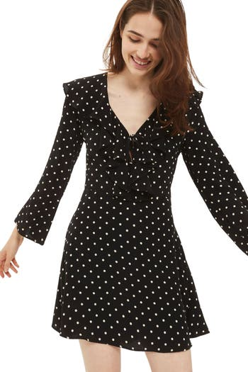 Topshop Polka Dot Ruffle Minidress, US (fits like 0) - Black