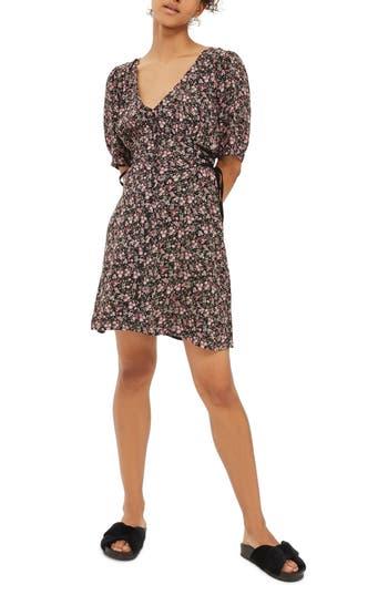 Topshop Corset Side Floral Tea Dress, US (fits like 0) - Black
