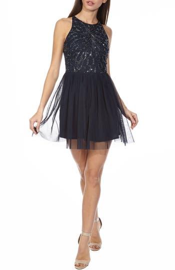 Lace & Beads Ablienne Embellished Skater Dress, Blue