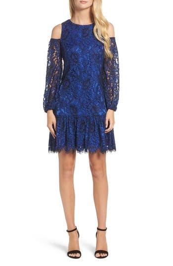 Eliza J Lace Cold Shoulder Dress, Blue