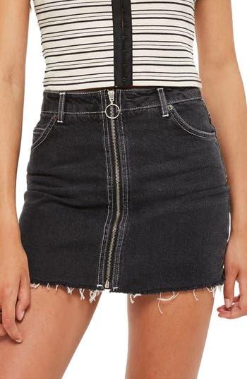 Topshop Zip Denim Skirt, US (fits like 6-8) - Black