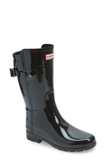 Hunter Original Refined Back Strap Rain Boot, Black