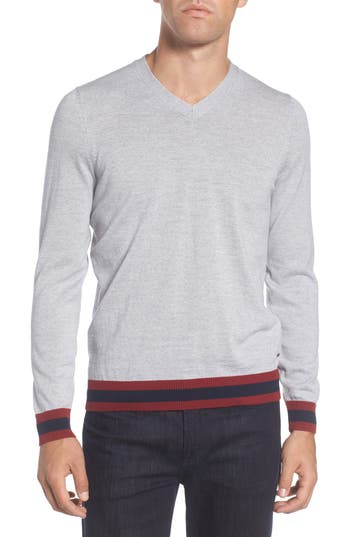 Boss Navello Slim Fit Wool V-Neck Sweater, Grey