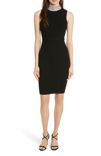Milly Jewel Collar Sheath Dress, Black