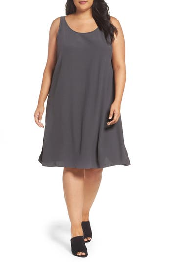 Plus Size Eileen Fisher Tencel Blend A-Line Shift Dress, Grey