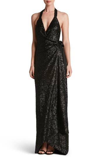 Dress The Population Giselle Sequin Wrap Gown, Black