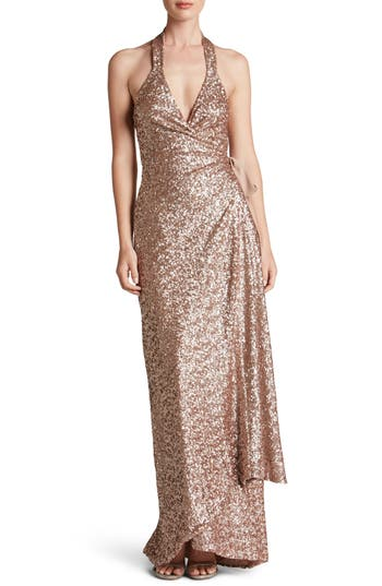 Dress The Population Giselle Sequin Wrap Gown, Pink