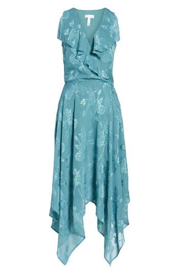 Leith Handkerchief Hem Faux-Wrap Midi Dress, Blue/green