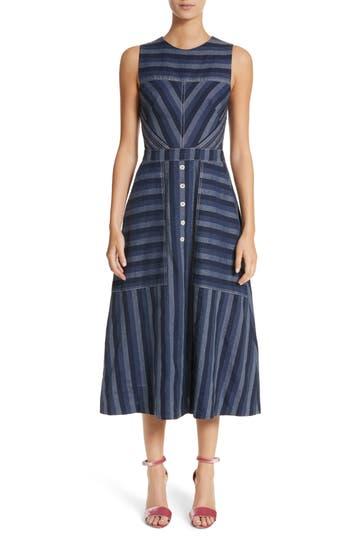 Carolina Herrera Stripe Denim Midi Dress, Blue