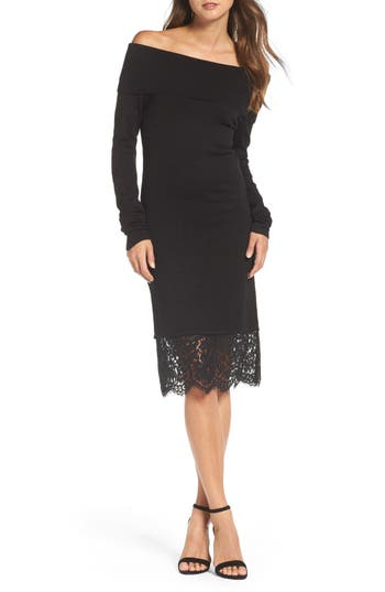 Chelsea28 Off The Shoulder Sheath Dress, Black