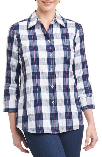 Foxcroft Sue Shaped Fit Crinkle Plaid Shirt, Blue