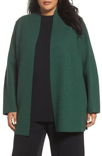 Plus Size Eileen Fisher Boiled Wool Jacket, Green