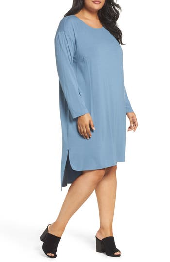 Plus Size Eileen Fisher High/low Jersey Shift Dress, Blue